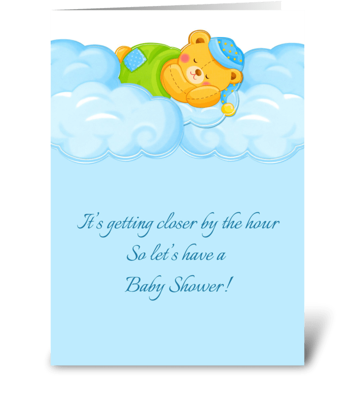 Blue Clouds, Sleeping Bear, Baby Shower  greeting card