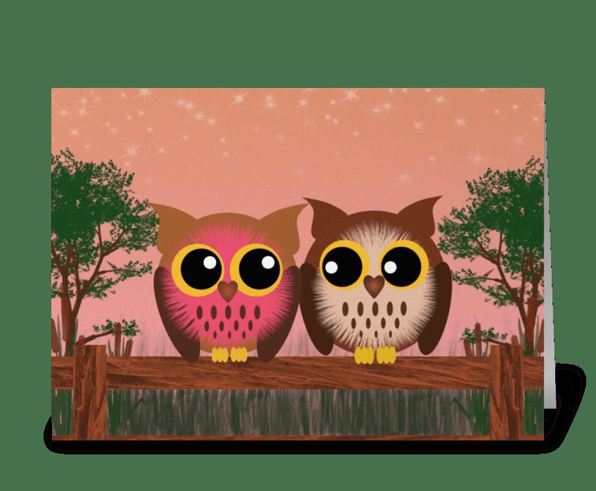 Fence owls  greeting card