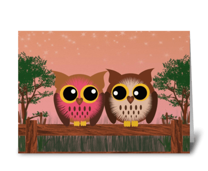 Fence owls  greeting card
