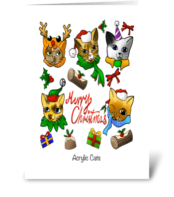 Merry Christmas Cats greeting card