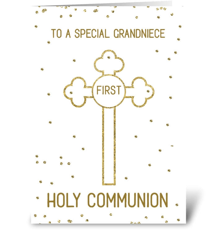 Grandniece First Holy Communion Gold greeting card