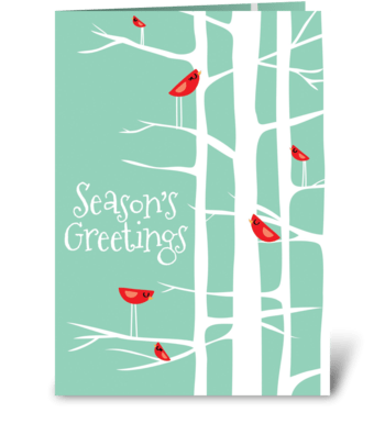 Winter Wonderland Teal/Red greeting card