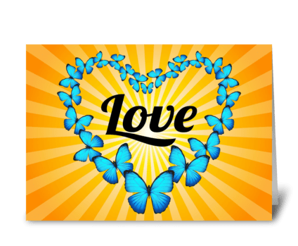 Love in Blue Butterfly Heart greeting card