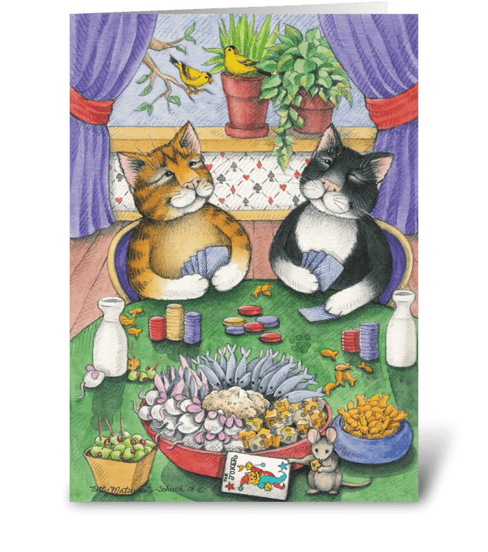 Poker Birthday Cats #26 greeting card