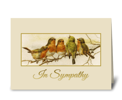 In Sympathy Vintage birds  greeting card