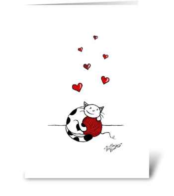 Cat Hugs Yarn - Happy Anniversary greeting card