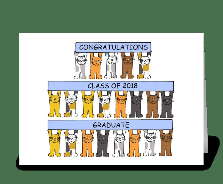 2018 graduate congratulations, cute cats greeting card