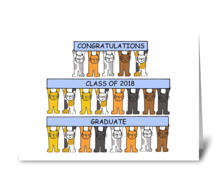 2018 graduate congratulations, cute cats greeting card
