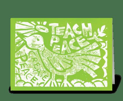 Teach Peace (Green) greeting card