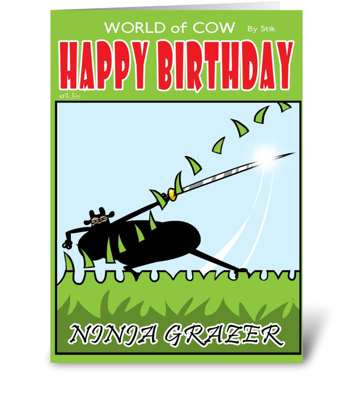 Ninja Cow Birthday Card greeting card