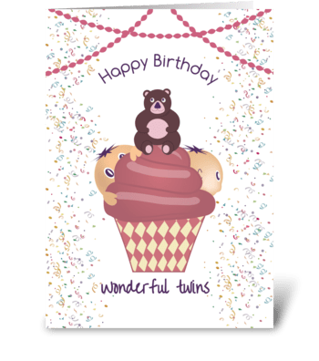 Happy Birthday Wonderful Twins greeting card
