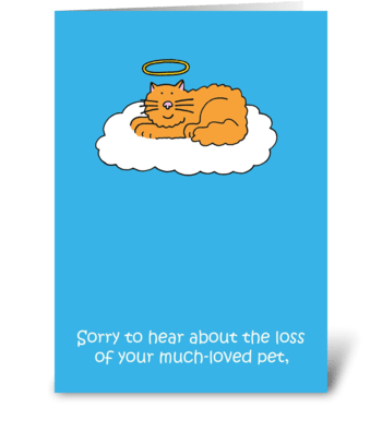 Sympathy on loss of pet cat. greeting card