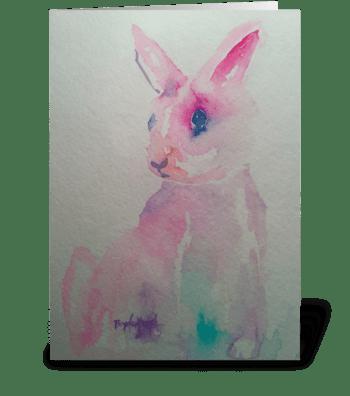 Pink Bunny Love greeting card