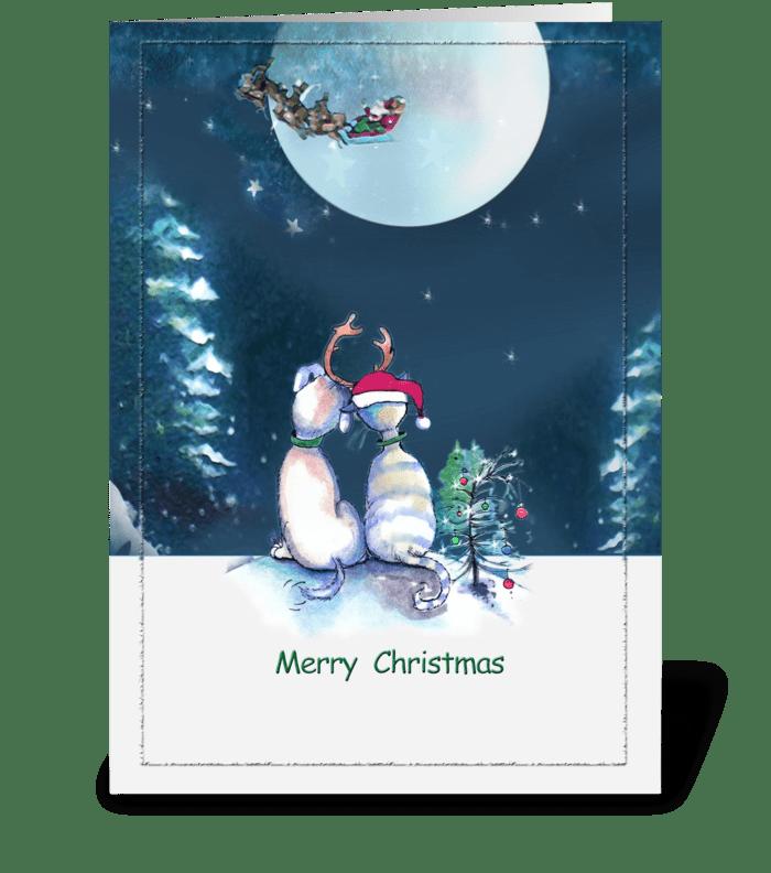 2 Pals , Merry Christmas ART greeting card