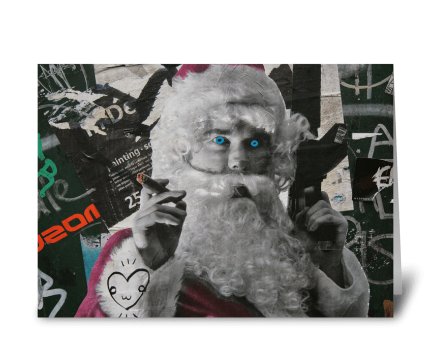 Evil Trippy Santa Claus greeting card