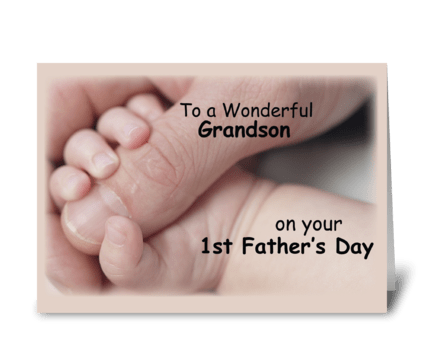 Grandson on First Father's Day, Baby greeting card