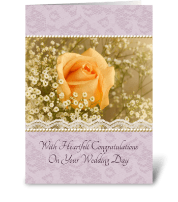 Peach Rose Wedding Congratulations greeting card