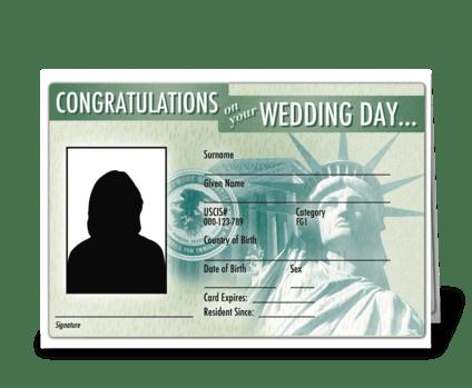 Wedding card green card greeting card