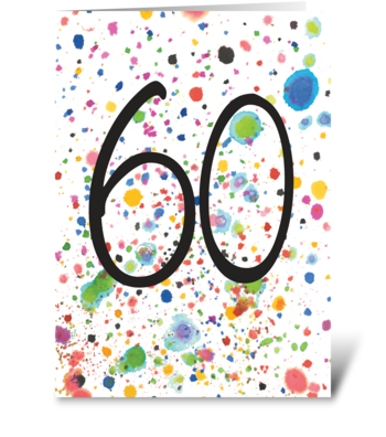70 60 Splash | 60th Birthday greeting card