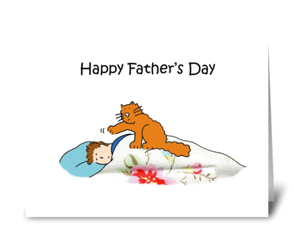 Happy Father's Day Cartoon Cat. greeting card