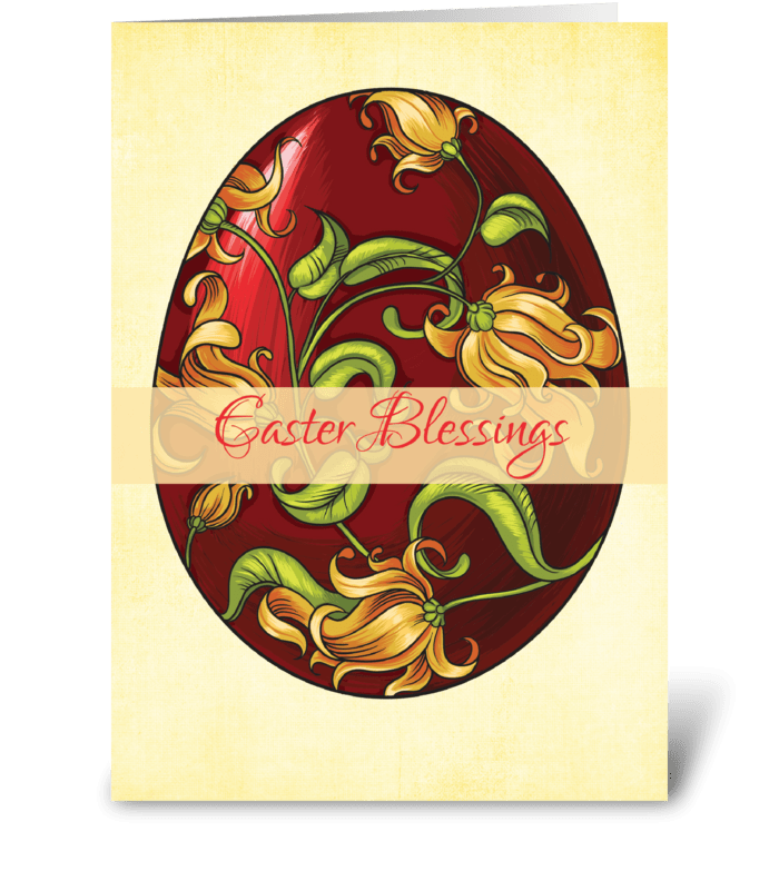 Easter Blessings, Egg with Lilies  greeting card