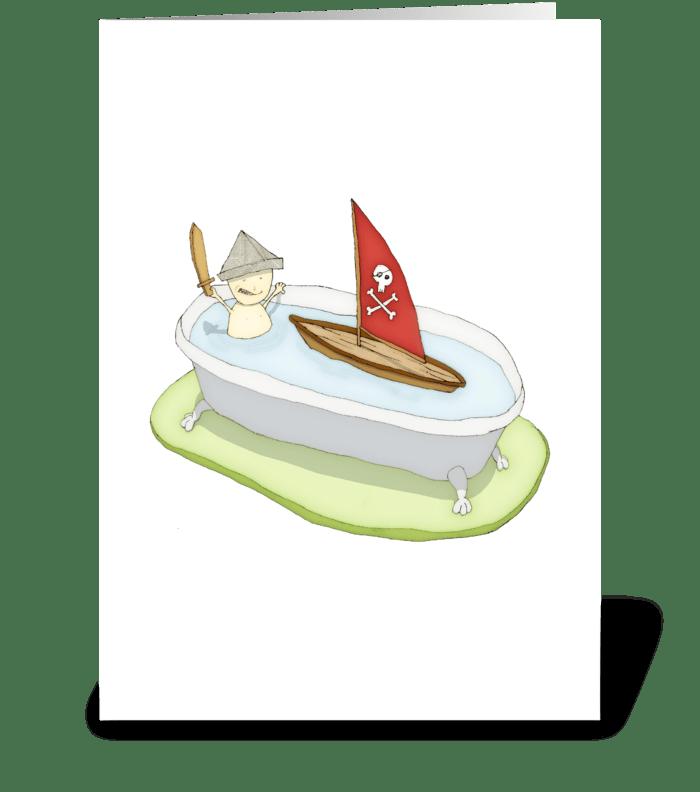 Bathtub Pirate Greeting Card greeting card