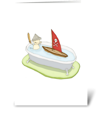 Bathtub Pirate Greeting Card greeting card