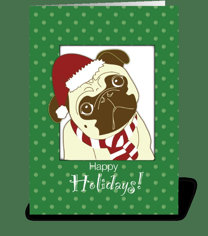 Pug Dog Christmas Humorous, Funny greeting card