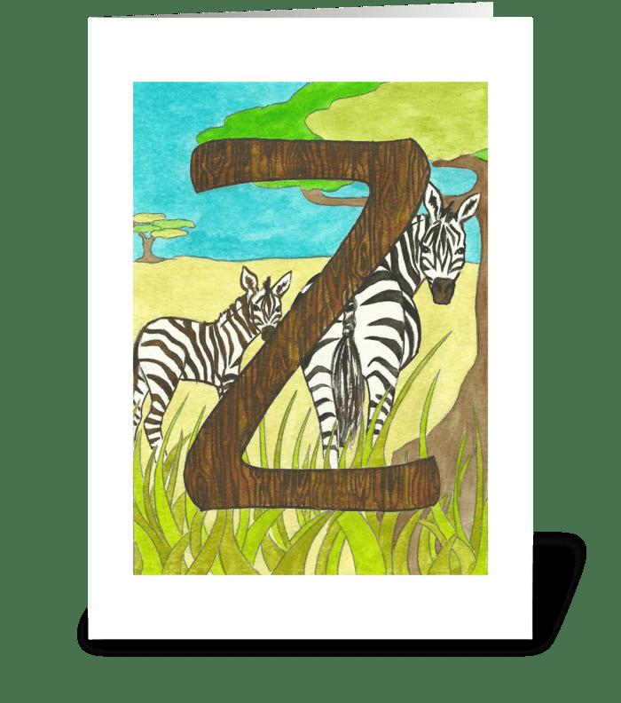 Z for Zebra greeting card