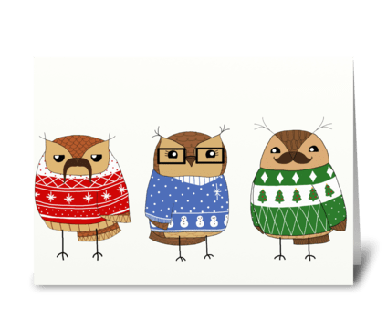 Christmas sweater owls greeting card