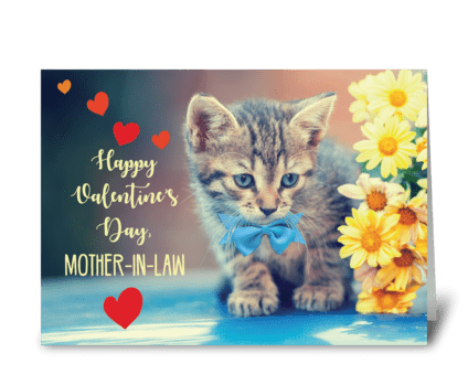 Mother-in-Law Love Valentine Kitten greeting card
