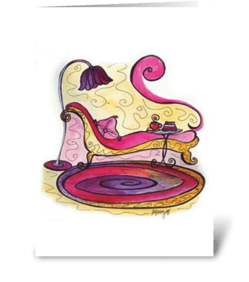 Pink Cottage Series: Time to read greeting card
