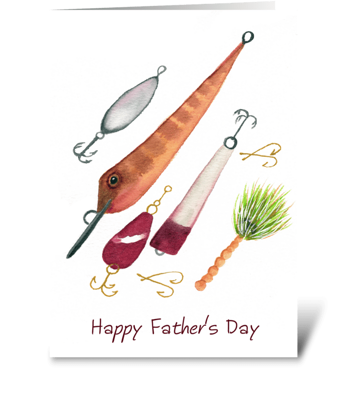 Happy Father's Day Fishing Lures  greeting card