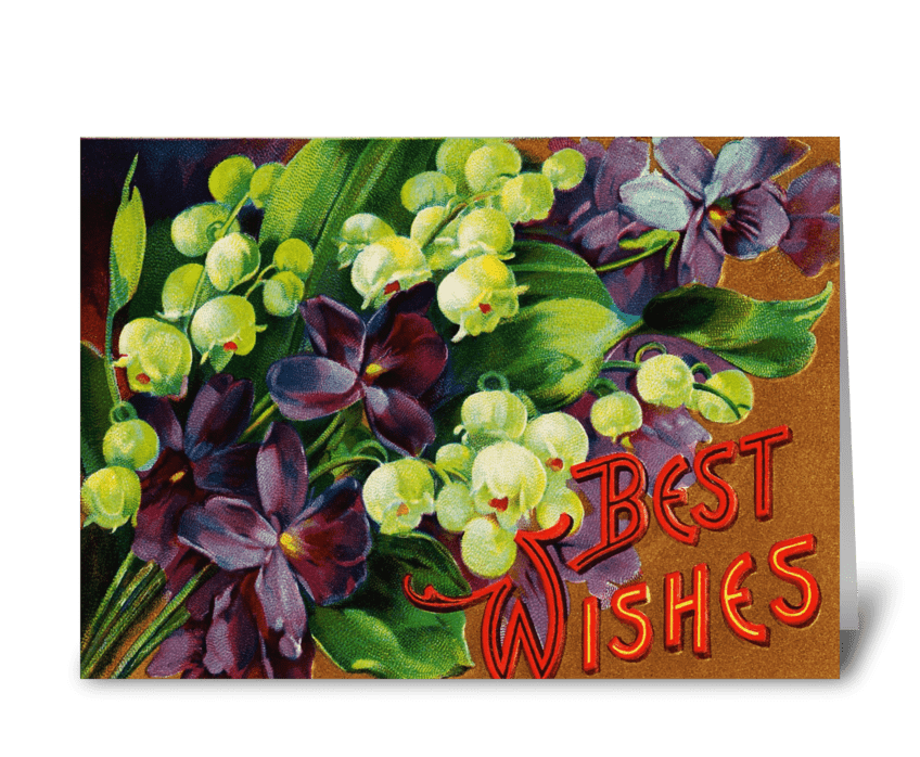 """Violets & Lily of the Valley """"Best Wishe greeting card"""