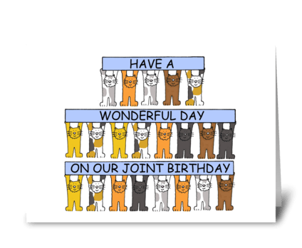 Shared, Mutual, Joint Birthday, Cats.  greeting card