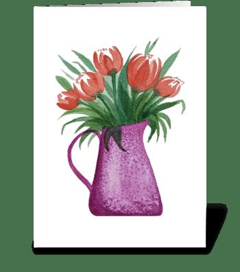Orange Tulips Pitcher Vase Watercolor  greeting card