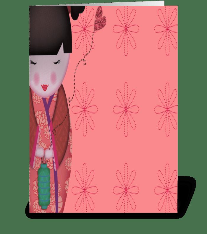 Little Geisha Pink Full greeting card
