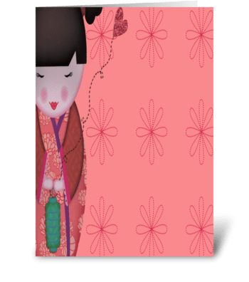 Little Geisha Pink Full greeting card