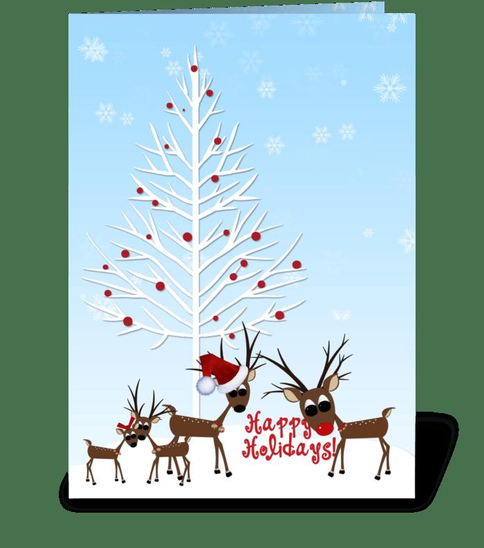 Winter, Reindeer, Happy Holidays greeting card