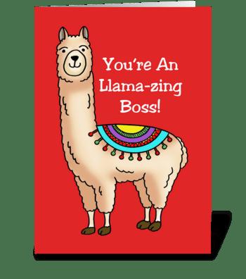 You're An Llama-zing Boss  Cartoon Llama greeting card