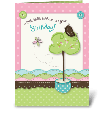 Little Birdie Birthday greeting card
