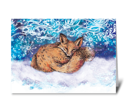 The Fox's Holiday Dream greeting card
