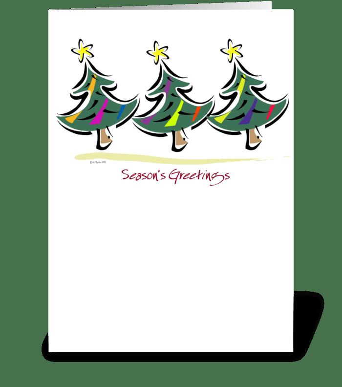 Three Christmas Trees Card greeting card