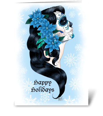 Winter Sugar Skull greeting card