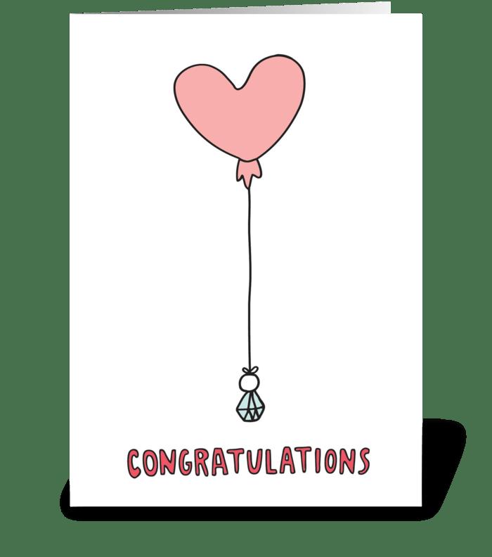 Congratulations Heart Balloon  greeting card