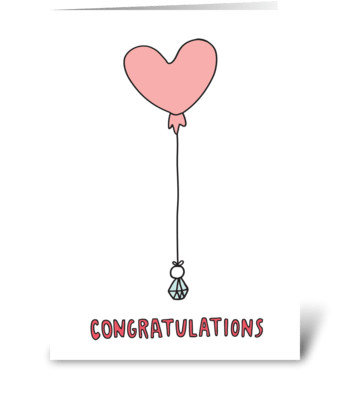 Congratulations Heart Balloon  greeting card