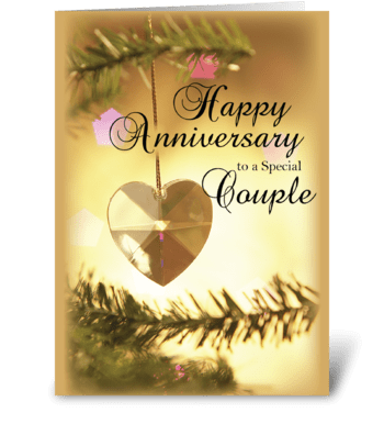 Anniversary on Christmas, Gold Heart greeting card