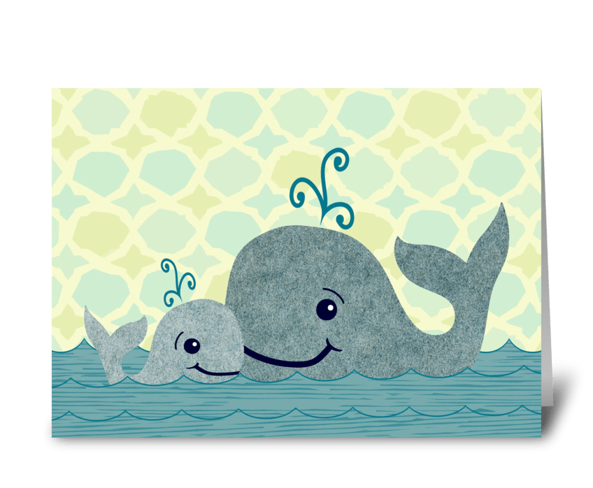 Whale Dad and Baby in the Sea greeting card