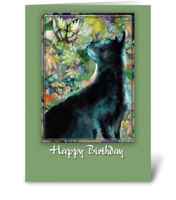Kitty in the Garden, Happy Birthday greeting card