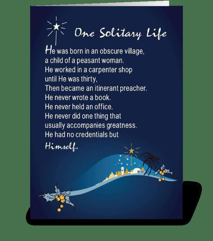 Christmas Card Design.One Solitary Life Religious Christmas